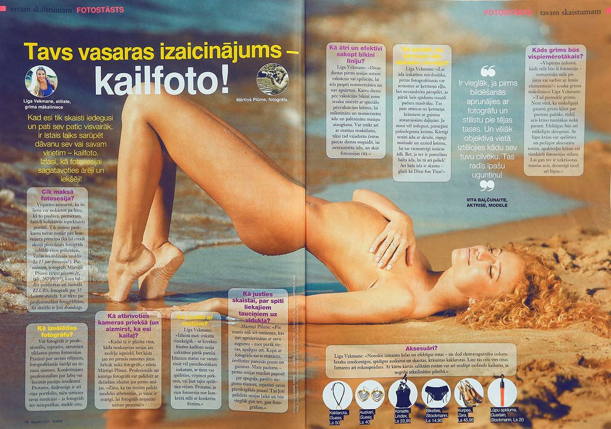 Vita Balcunaite, aktrise, kailfoto, fotografs Martins Plume